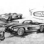 Une esquisse du roadster 300 SL par Friedrich Geiger, datée du 5 mai 1954.