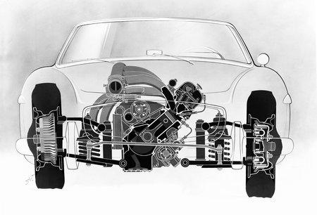 Vue fantôme de l'avant d'une 300 SL. Remarquez le bloc moteur très incliné.