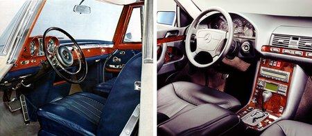 """Deux époques, deux """"tops modèles"""" : la Mercedes 600 W100 à gauche (1963) et la Classe S W140 (1991)."""