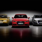 Trois générations d'A3 : 8L (1996-2003), 8P (2003-2012) et 8V (2012-...)