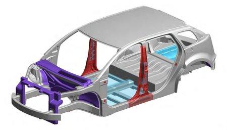 La caisse en blanc est faite d'aluminium (en gris), d'acier (en rouge), de magnésium (en violet) et de composites (en bleu).