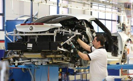 Vue du châssis arrière en aluminium de l'Alfa 4C.