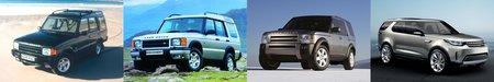 Les Land Rover Discovery 1, 2 et 3, et le concept-car Discovery Vision.