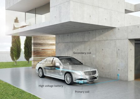Recharge par induction d'une Mercedes S 500 Plug-in Hybrid
