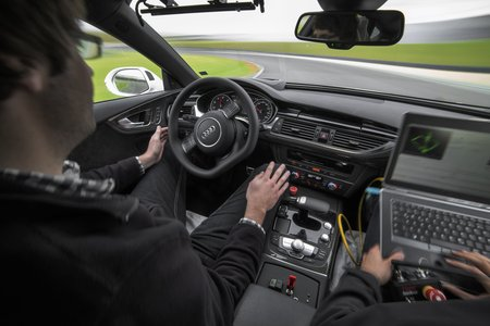 L'Audi RS 7 Piloted Driving sur le circuit de Hockenheim.