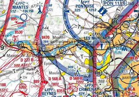 Vous n'aimez pas lire les cartes routières ? Vous allez adorer les cartes de navigation aérienne ! (© IGN/Géoportail)